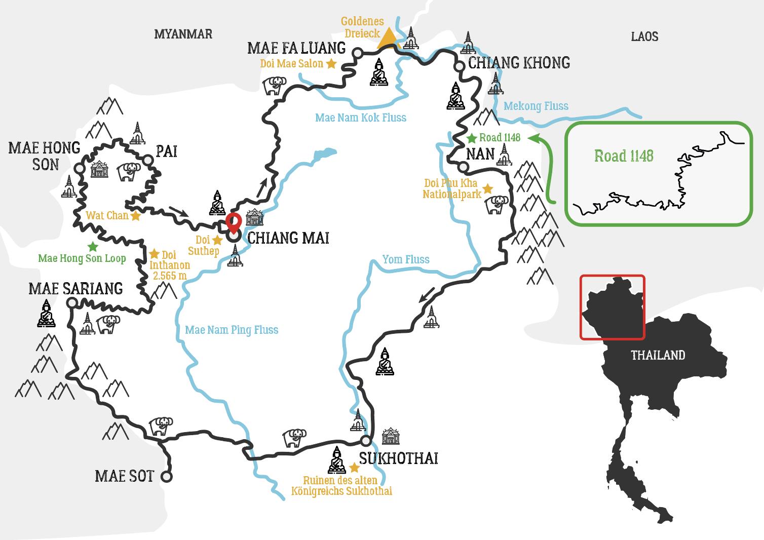 Thailand Goldenes Dreieck Motorradtour Karte