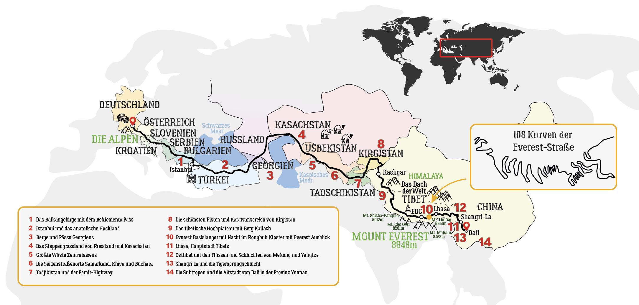 Von München nach Tibet Seidenstraße Motorradtour Karte