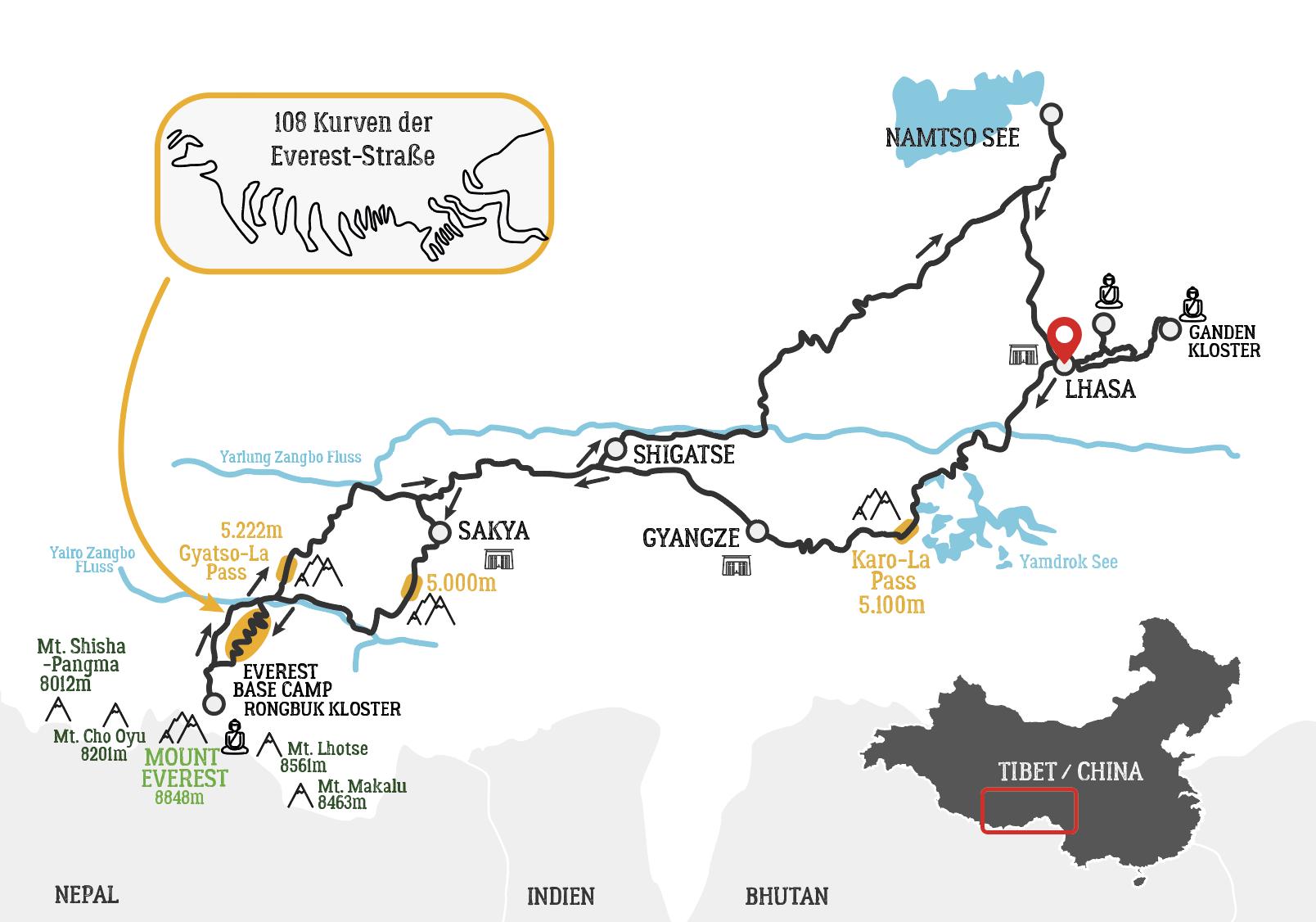 Everest Basislager Motorradtour Karte